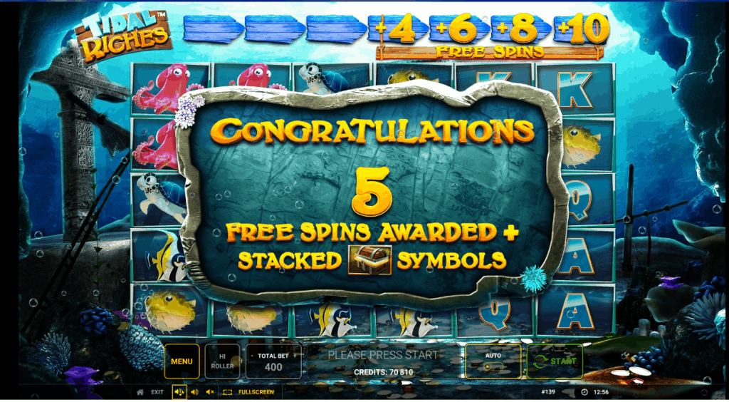 Free spins in Tidal Riches